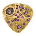Estate Jewelry:Brooches - Pins, Amethyst, Ancient Coin, Gold Brooch, Elizabeth Gage, English . ...