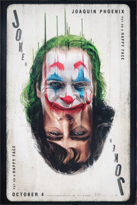 """Joker (Warner Bros., 2019). Rolled, Very Fine. Bus Shelter (48"""" X 72""""). SS Advance, Playing Card Style. Crime..."""