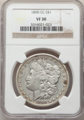 Morgan Dollars: , 1890-CC $1 VF30 NGC. NGC Census: (120/6555). PCGS Population: (200/12735). CDN: $100 Whsle. Bid for NGC/PCGS VF30. Mintage ...