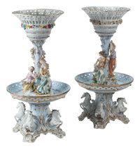 A Pair of Monumental Meissen-Style Figural Two-Tier Porcelain Compotes Marks: (pseudo Meissen mark) 38-1/2 x 20