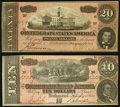 Confederate Notes:1864 Issues, T67 $20 1864 Choice About Uncirculated;. T68 $10 1864 Extremely Fine.. ... (Total: 2 notes)