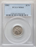 Three Cent Nickels: , 1882 3CN MS64 PCGS. PCGS Population: (37/49). NGC Census: (15/21). CDN: $900 Whsle. Bid for NGC/PCGS MS64. Mintage 22,200. ...