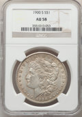Morgan Dollars: , 1900-S $1 AU58 NGC. NGC Census: (489/2987). PCGS Population: (469/5559). CDN: $110 Whsle. Bid for NGC/PCGS AU58. Mintage 3,...