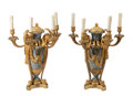 Lighting, A Pair of Les Freres Delisle Louis XVI-Style Gilt Bronze Mounted Marble Four-Light Candelabras, Paris, 19th century. Marks: ... (Total: 2 Items)