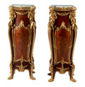 Furniture, A Pair of French Louis XV-Style Gilt Bronze Mounted and Marquetry Inlaid Mahogany Pedestals with Marble Tops After Joseph-Emma... (Total: 2 Items)