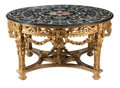 Furniture, An Italian Baroque-Style Carved Giltwood Table with Pietre Dure Top. 31-1/2 x 59 inches (80.0 x 149.9 cm). ...