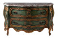 Furniture, A Venetian-Style Painted and Partial Gilt Commode with Marble Top. 34-1/2 x 61 x 24 inches (87.6 x 154.9 x 61.0 cm). ...
