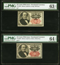 Fractional Currency:Fifth Issue, Fr. 1308 25¢ Fifth Issue PMG Choice Uncirculated 63 EPQ;. Fr. 1309 25¢ Fifth Issue PMG Choice Uncirculated 64 EPQ.. ... (Total: 2 notes)