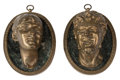 Furniture, A Pair of Italian Gilt Bronze Mounted Busts on Oval Marble Plaques, 19th century . Marks: Clodion . 10 x 8 x 6 inches (2... (Total: 2 Items)