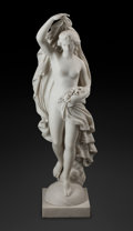 Carvings, An Italian Carrara Marble Figure of a Lady with Flowers, 19th century . 42 x 13-1/2 x 11 inches (106.7 x 34.3 x 27.9 cm). Ma...