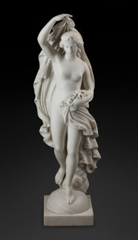 An Italian Carrara Marble Figure of a Lady with Flowers, 19th century 42 x 13-1/2 x 11 inches (106.7 x 34.3 x 27