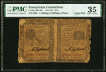 Colonial Notes:Pennsylvania, Pennsylvania April 25, 1776 1s/2s6d Uncut Horizontal Pair PMG Choice Very Fine 35.. ...
