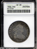1806 50C 6 Over Inverted 6 VF35 ANACS. O-111a, R.4. Light gray toning with accents of electric blue and golden-brown at...