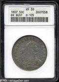 1807 50C Draped Bust VF30 ANACS. O-105, R.2. A fairly sharp steel-gray and tan-brown final year Draped Bust Half with a...