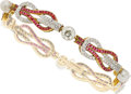 Estate Jewelry:Bracelets, Antique Natural Pearl, Diamond, Synthetic Ruby, Platinum-Topped Gold Bracelet. ...