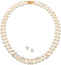 Estate Jewelry:Suites, Cultured Pearl, Diamond, Gold Jewelry Suite, Mikimoto. ... (Total: 2 Items)