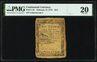 Continental Currency February 17, 1776 $2/3 PMG Very Fine 20