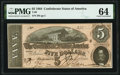 Confederate Notes:1864 Issues, Low Serial Number T69 $5 1864 PMG Choice Uncirculated 64.. ...