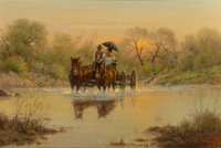 G. (Gerald Harvey Jones) Harvey (American, 1933-2017) Courtin' Days, 1978 Oil on canvas 24-1/4 x 36-1/4 inches (61.6