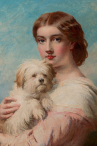 James John Hill (British, 1811-1882) A Lady and her Dog Oil on canvas 30 x 25 inches (76.2 x 63