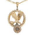 Estate Jewelry:Necklaces, Colored Diamond, Gold Pendant-Necklace . ...