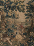 Textiles, A Framed French Tapestry, 18th century . 93 x 69-1/2 inches (236.2 x 176.5 cm). ...