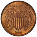 1865 2C MS66 Red PCGS. PCGS Population: (46/1 and 4/0+). NGC Census: (23/2 and 0/0+). CDN: $2,100 Whsle. Bid for NGC/PCG...