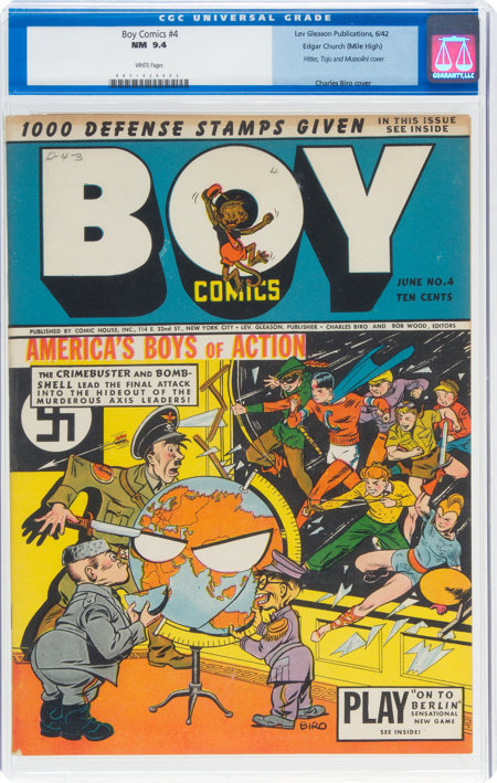 Boy Comics #4 Mile High Pedigree (Lev Gleason, 1942) CGC NM 9.4 White pages....