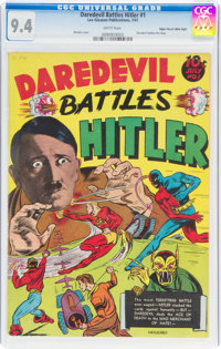 Daredevil Battles Hitler #1 Mile High Pedigree (Lev Gleason, 1941) CGC NM 9.4 White pages