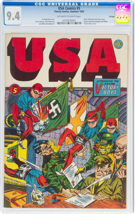 USA Comics #5 Chicago Pedigree (Timely, 1942) CGC NM 9.4 Off-white to white pages....