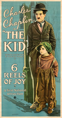 "The Kid (First National, 1921). Very Fine- on Linen. Three Sheet (41"" X 78"")"
