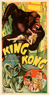 "King Kong (RKO, 1933). Very Fine+ on Linen. Three Sheet (41"" X 80.5"") Style B"