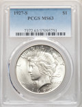 Peace Dollars: , 1927-S $1 MS63 PCGS. PCGS Population: (2165/1681). NGC Census: (1100/1113). CDN: $415 Whsle. Bid for NGC/PCGS MS63. Mintage...