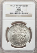 Morgan Dollars, 1887-O $1 VAM-2, Doubled 1, Tripled 7 MS62 NGC. A Top 100 Variety. NGC Census: (39/58). PCGS Population: (32/54). MS62....