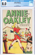 Golden Age (1938-1955):Western, Annie Oakley #1 (Timely/Atlas, 1948) CGC VF 8.0 Off-white to white pages....