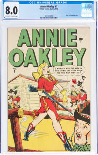 Annie Oakley #1 (Timely/Atlas, 1948) CGC VF 8.0 Off-white to white pages