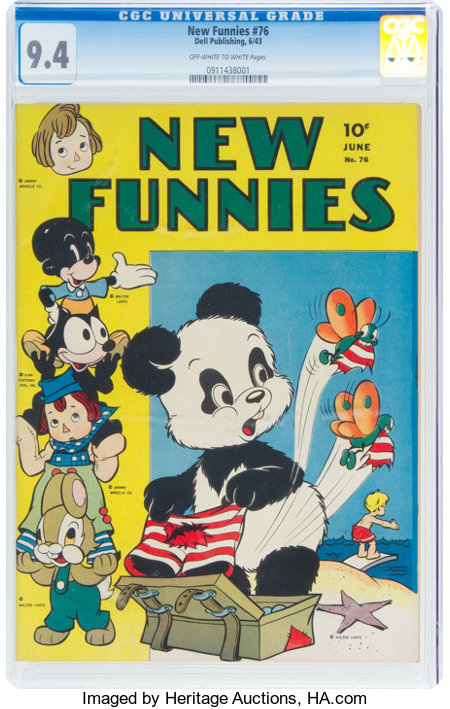 New Funnies #76 (Dell, 1943) CGC NM 9.4 Off-white to white pages....