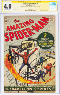 The Amazing Spider-Man #1 Signed by Stan Lee (Marvel, 1963) CGC Signature Series VG 4.0 Off-white to white pages