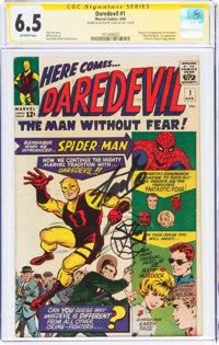Daredevil #1 Signature Series - Signed and Sketch by Stan Lee (Marvel, 1964) CGC FN+ 6.5 Off-white pages