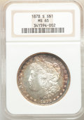 Morgan Dollars: , 1878-S $1 MS65 NGC. NGC Census: (4489/539). PCGS Population: (4883/920). CDN: $230 Whsle. Bid for NGC/PCGS MS65. Mintage 9,...