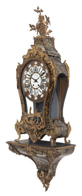 A French Chinoiserie Gilt Bronze Mounted Clock on Bracket, 19th century 57 x 21-1/2 x 9 inches (144.8 x 54.6 x 22