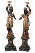 Furniture, A Pair of Venetian Ebonized and Polychrome Carved Wood Blackamoors on Pedestals, 19th century . 63-1/2 inches (161.3 cm) (sc... (Total: 2 Items)