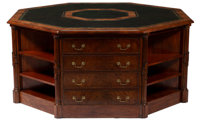 A Monumental English Regency-Style Octagonal Library Table with Tooled Leather Top 36 x 77-1/2 x 77-1/2 inches (91