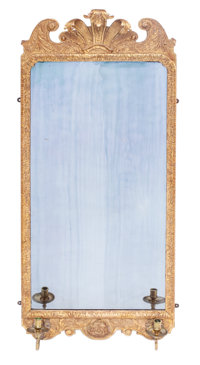 An English Carved and Gilt Wood Girandole Mirror with Brass Candle Cups, 18th century 46 x 19 x 4 inches (116.8 x