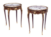 A Pair of French Louis XV-Style Gilt Bronze Mounted Gueridons 28 x 23 inches (71.1 x 58.4 cm) (each)