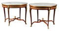 Furniture, A Pair of French Louis XV-Style Gilt Bronze Mounted Mahogany Gueridons with Parquetry Frieze and Marble Tops. 30-1/2 x 38 in... (Total: 2 Items)