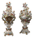 Ceramics & Porcelain, A Near Pair of German Porcelain Floral Covered Urns on Bases, One with Clock, 19th century . Marks to bases: (pseudo-Meissen... (Total: 2 Items)