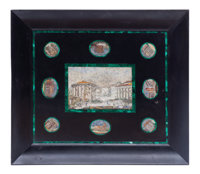 An Italian Marble Plaque Set with Nine Micro-Mosaic Depicting Roman Scenes 19-1/4 x 22-1/2 inches (48.9 x 57.2 cm)