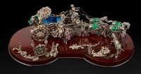 An Austrian Enameled Silver Figural Group on Wood Base, circa 1900 8 x 26 x 12 inches (20.3 x 66.0 x 30.5 cm) <...