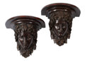 Furniture, A Pair of Pompeian-Style Patinated Bronze Brackets with Faux Marble Tops. 11 x 12-1/2 x 8-1/2 inches (27.9 x 31.8 x 21.6 cm)... (Total: 2 Items)